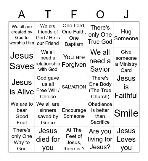 At The Feet Of Jesus Bingo Card
