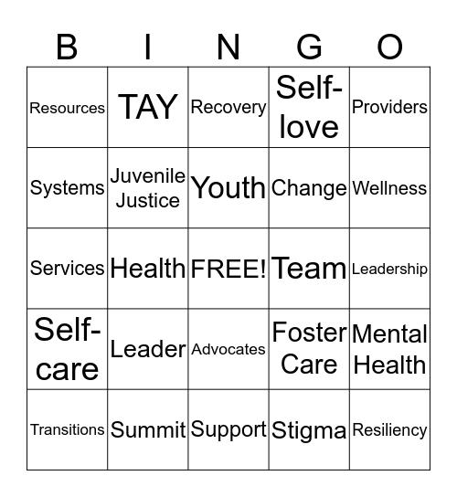 TAY Leadership Team Bingo Card
