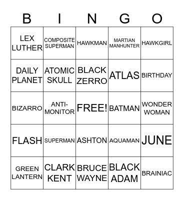 SUPERMAN Bingo Card