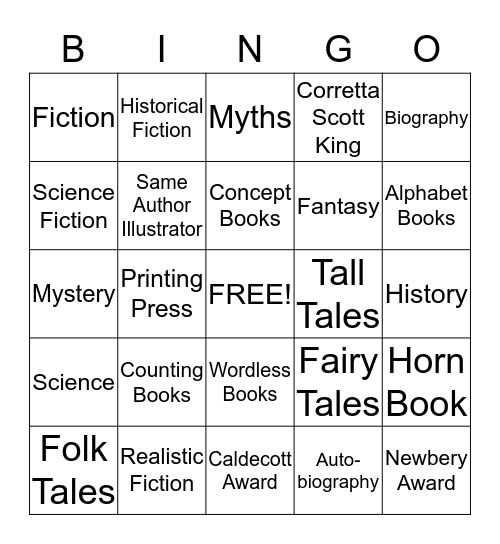 Children's Literature Bingo   Bingo Card
