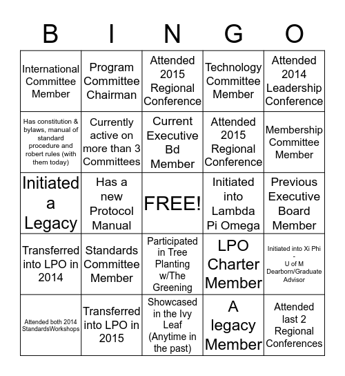 ALPHA KAPPA ALPHA SORORITY, INCORPORATED® - LAMBDA PI OMEGA CHAPTER June 6th, 2015 Standards Workshop Bingo Card