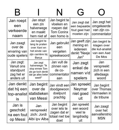 Champions League Finale  - Jan Dewijngaert Bingo Card