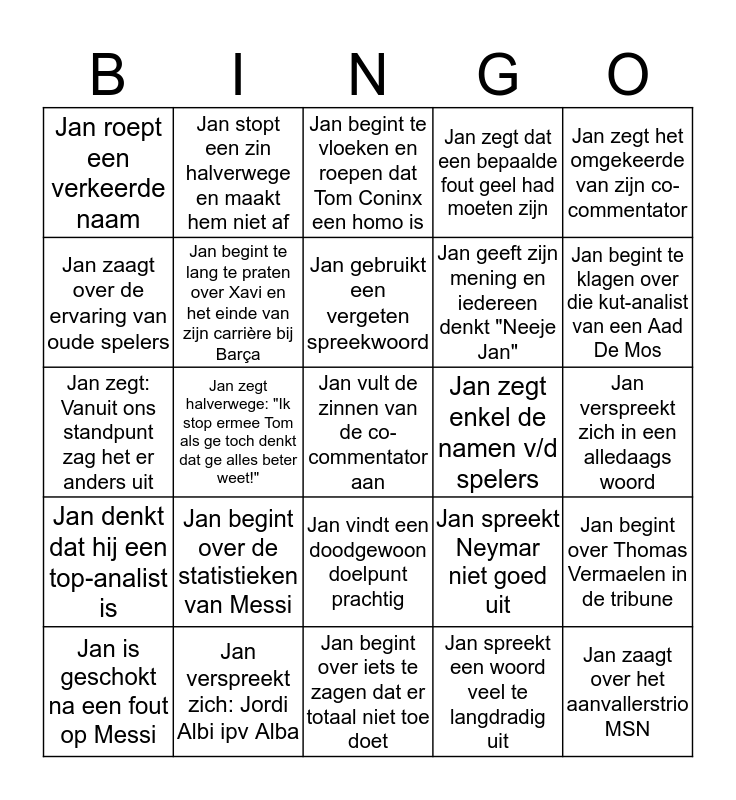 Champions League Finale  - Jan Dewijngaert Bingo Card