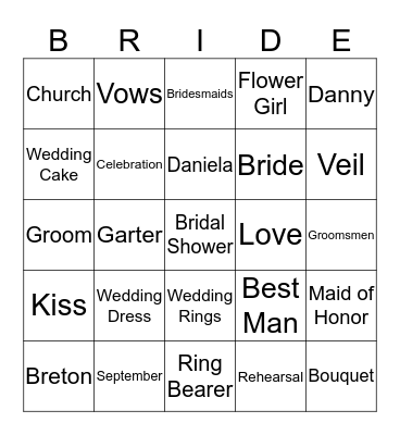 Daniela's Bridal Shower Bingo Card