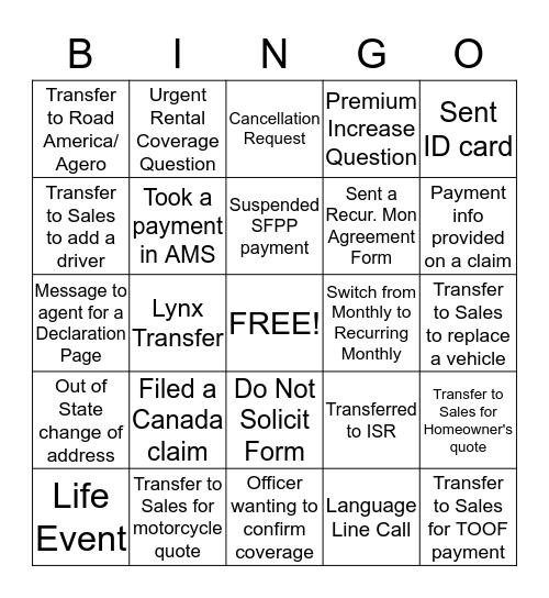CCC-Service Bingo  Bingo Card