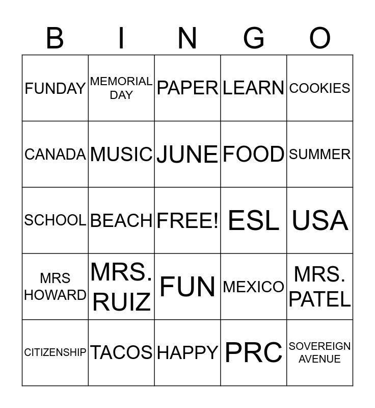 PARTY DAY Bingo Card