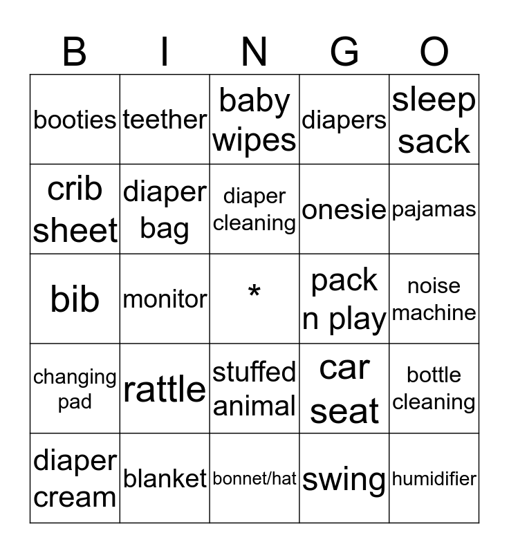 Annie & Andrew are having a baby! Bingo Card