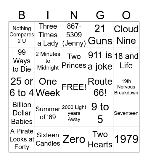 By the Numbers Bingo Card