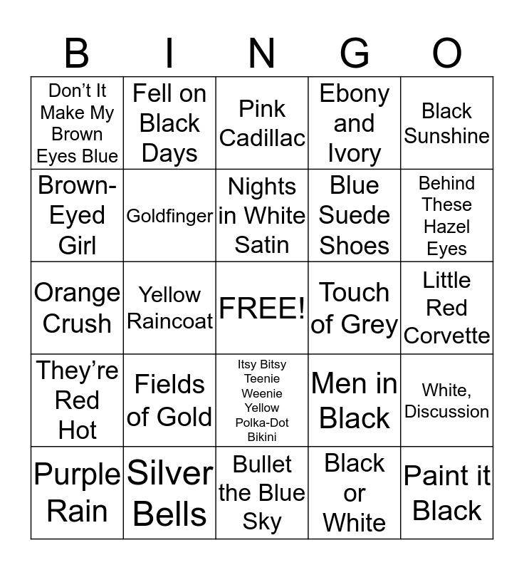 COLOR Palette Bingo Card