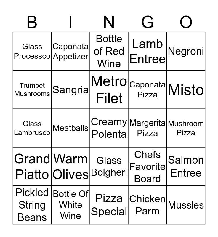 Metro Bingo Card
