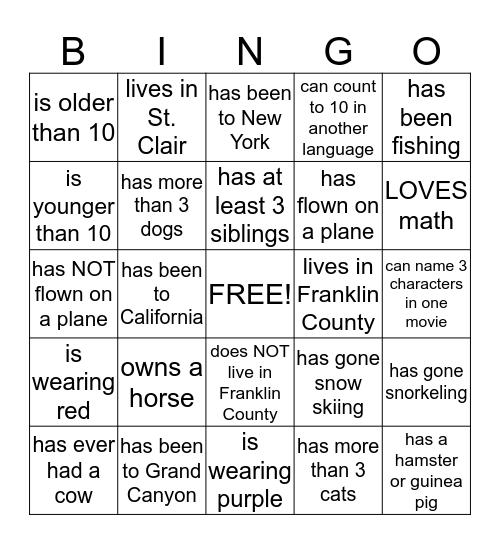 Someone who..... Bingo Card