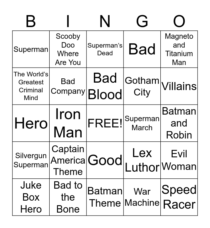Heroes & Villains Bingo Card