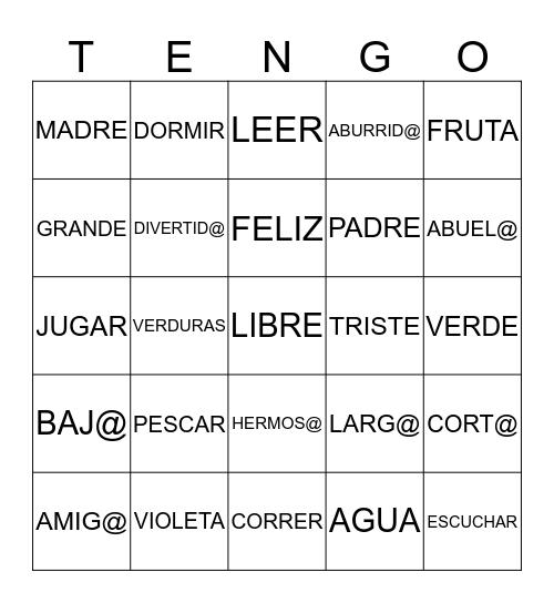 REPASO Bingo Card