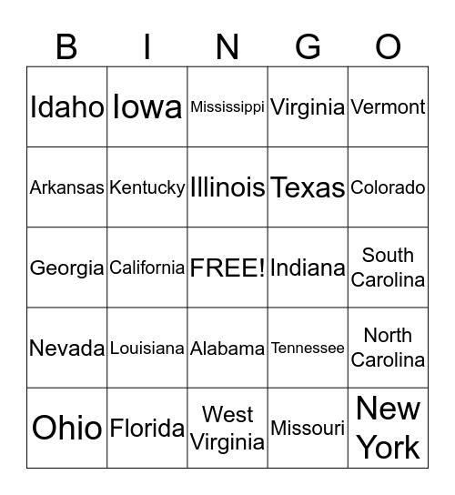License Plate Bingo #3 Bingo Card