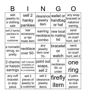 Jewelry Bingo for Dollars June 13 & 14 Bingo Card