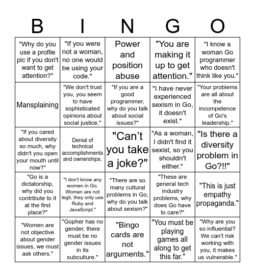 Sexist Gopher Bingo Card