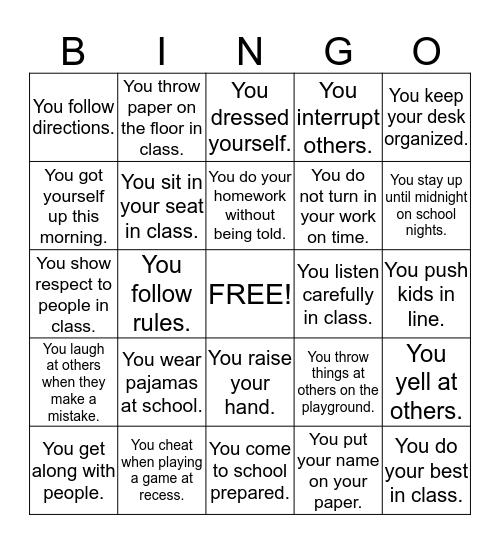 Great Expectations Bingo Card
