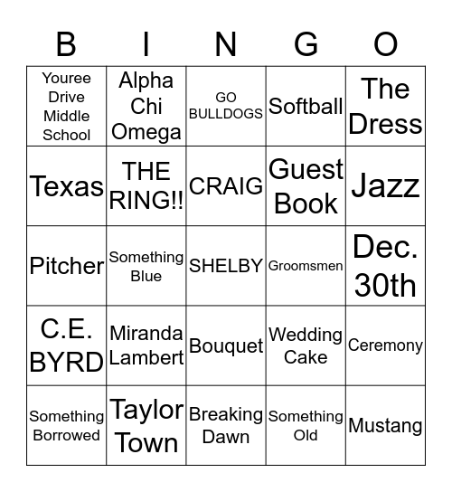Shelby's Bridal Shower Bingo Card