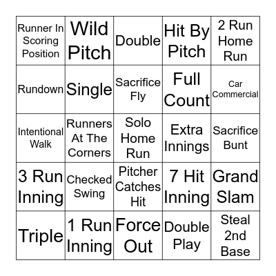 Baseball BINGO! Bingo Card