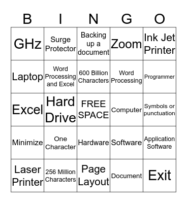 Computer Applications Bingo Card