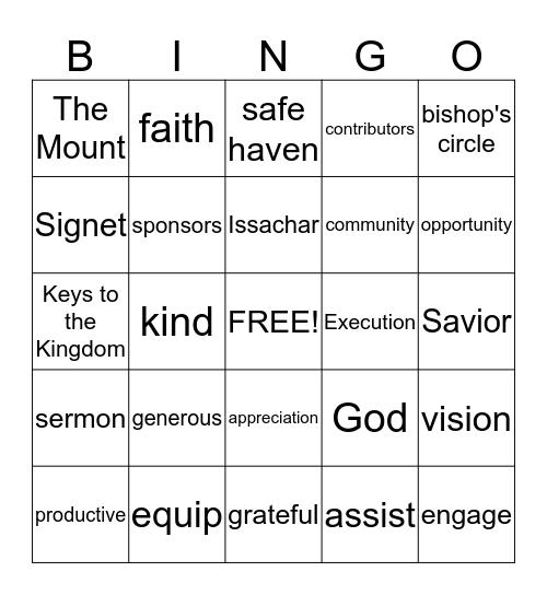 Keys Contributors Awards Celebration Bingo Card