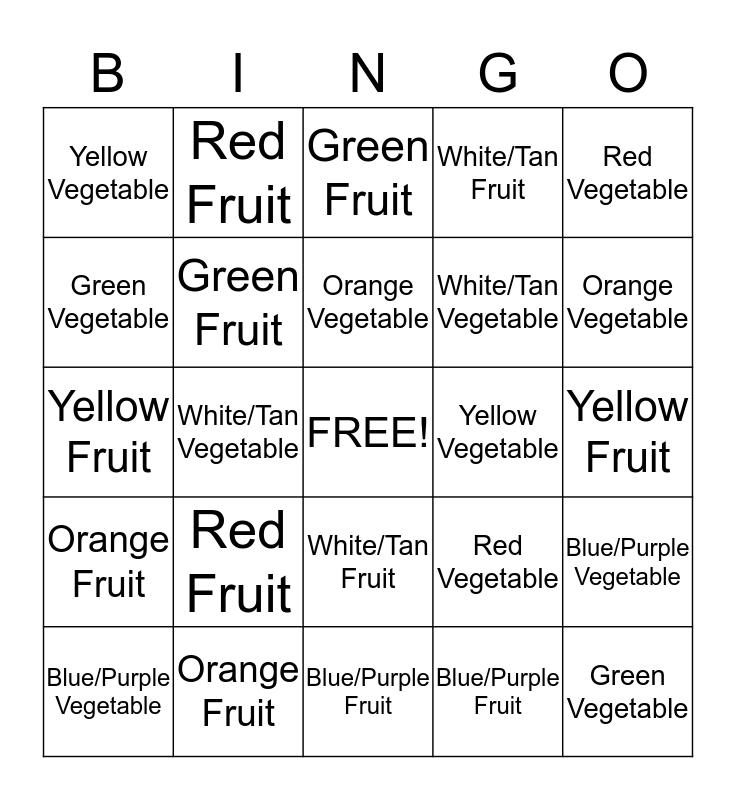Rainbow Foods Bingo Card