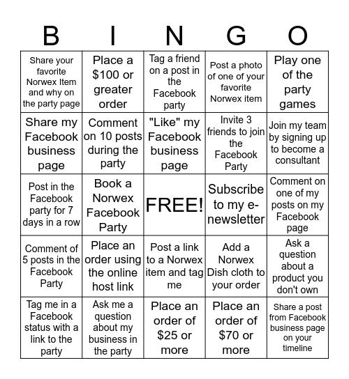 Norwex Facebook Bingo Card