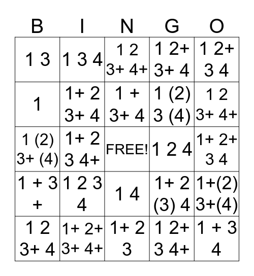 Write - in - Rhythm Bingo Card