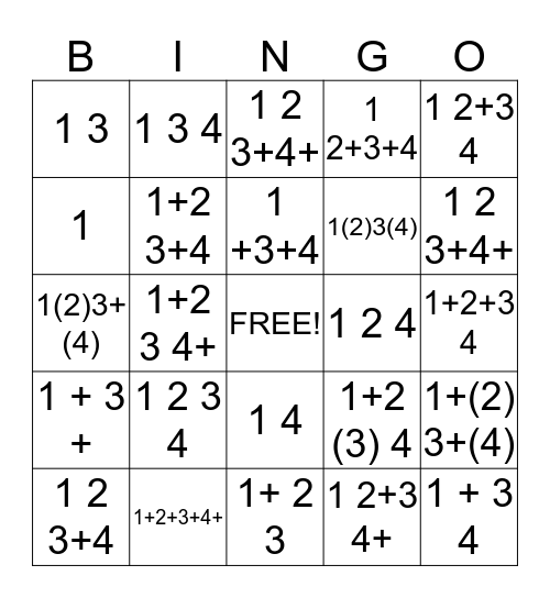 Write - in - Rhythm Bingo Card