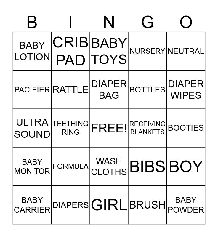 Gender Reveal Bingo Card
