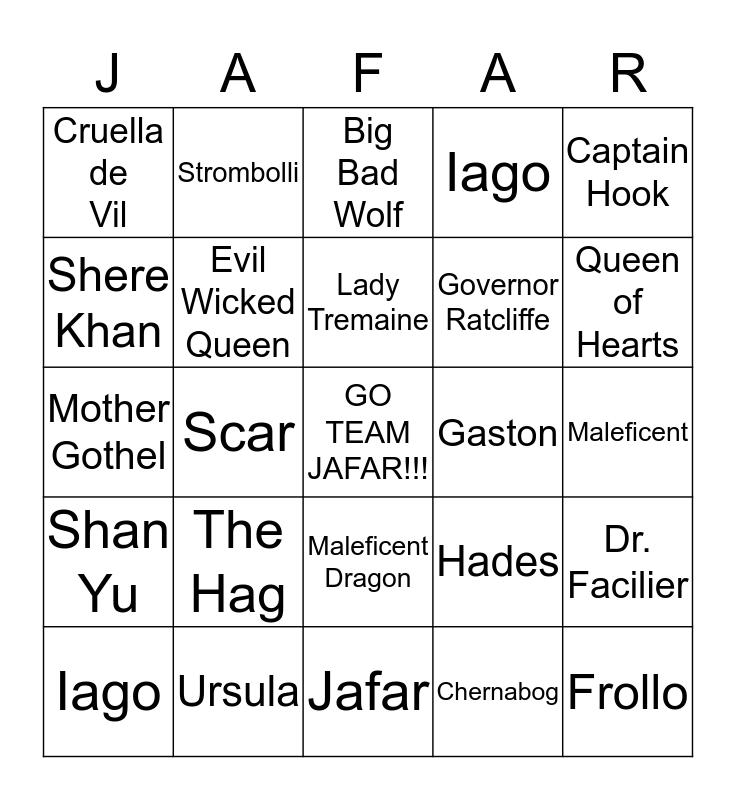 Team Jafar Bingo Card