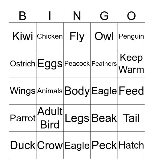 Lion Class Birds Bingo Card