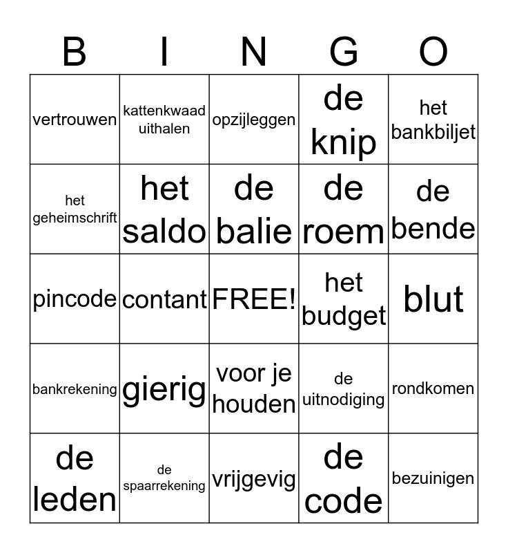 geld en geheimen 4 Bingo Card