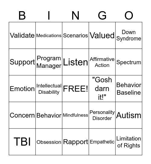 Fourth Day Orientation Bingo Card