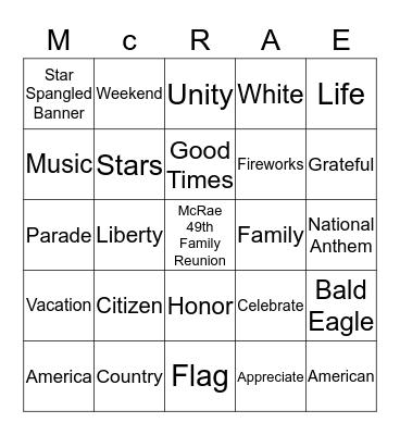 McRae All-American Affair Bingo Card