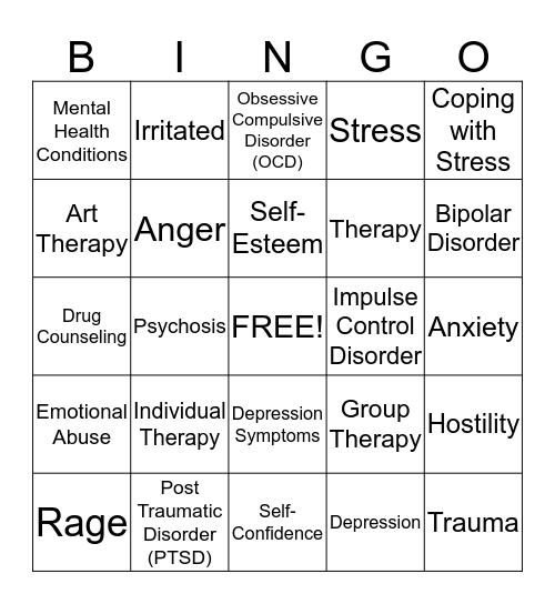 RC PTSD Awareness Bingo Card