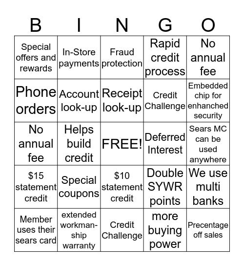 Challenge Bingo Card