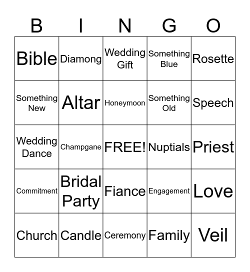 Ana's Bridal Shower Bingo Card