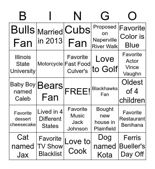 Get to Know Justin BINGO Card