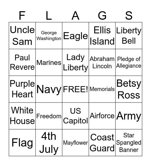 ******PATRIOTIC BINGO****** Bingo Card