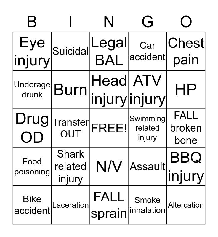 Fourth of July ER Fun! Bingo Card