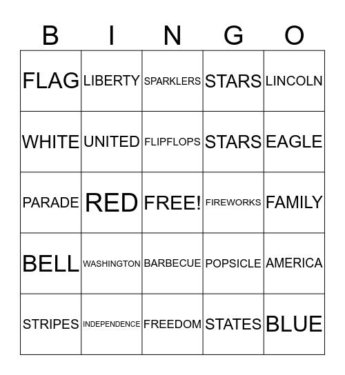 Fourth of July Bingo Card
