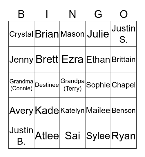 Blau Family Bingo Card