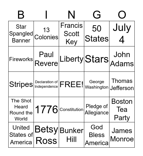 Independence Day Bingo Card