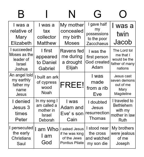 Who AM I Bingo Card