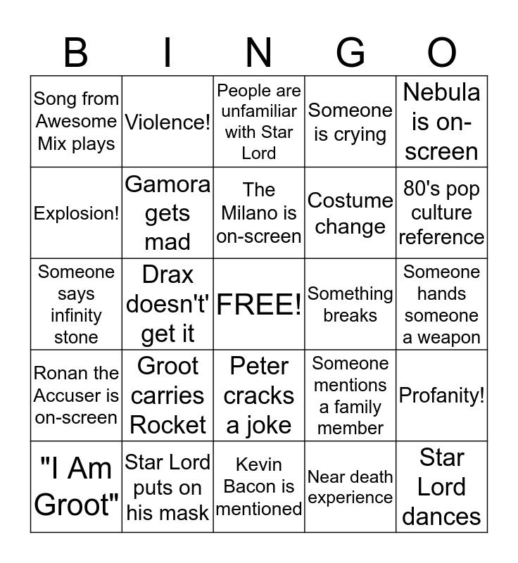 Guardians of the Galaxy Bingo Card