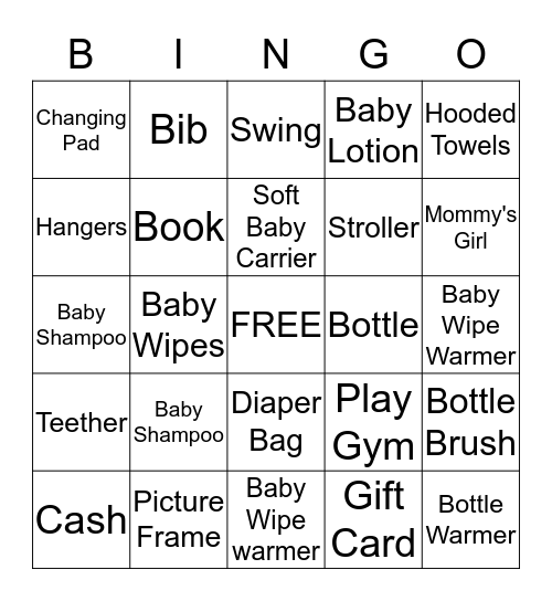 ***Baby Nova Shower*** Bingo Card