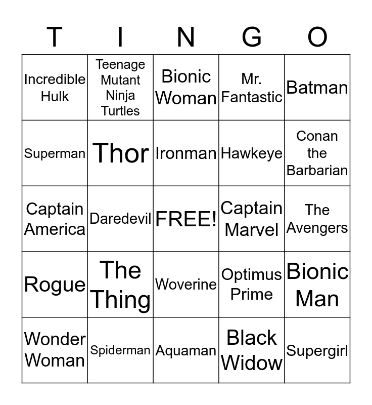Thingo Bingo Card