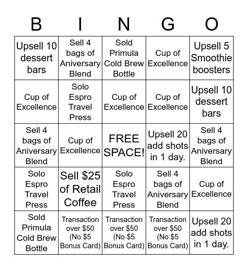 Anniversary Sale 2015 Bingo Card