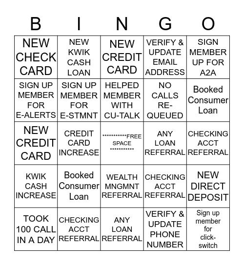 SERVICE TEAM Bingo Card